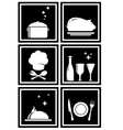 icons with restaurant objects vector image