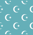 islamic crescent moon pattern seamless blue vector image