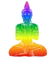 Silhouette of Buddha sitting on a white background vector image