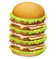 A big pile of hamburger vector image