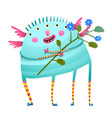 weird monster holding flowers happy congratulating vector image
