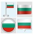Bulgaria flag - sticker button label flagstaff vector image vector image