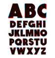 3d glasses effect alphabet font type alphabet vector image vector image
