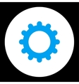 Gear flat blue and white colors round button vector image