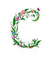 flower letter vector image vector image