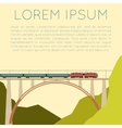 Train on the bridge banner vector image