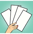 Booklets or tickets in hand vector image