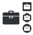 Briefcase icon set monochrome vector image