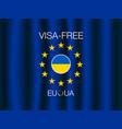 european union and ukraine visa-free regime banner vector image