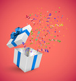 Gift Box with Confetti on a red background vector image