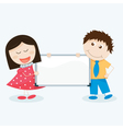 kids with a blank signboard vector image