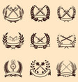 set of emblems with wreaths and swords design vector image