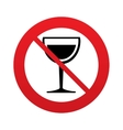 Wine glass sign icon Dont drink alcohol symbol vector image