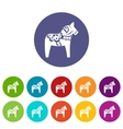 Toy horse set icons vector image