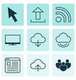 set of 9 online connection icons includes display vector image