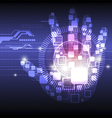 digital hand technology background vector image vector image