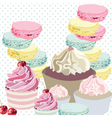 Cupcakes and Macaroons on dotted retro background vector image