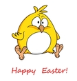 Fat yellow chicken wishing you Happy Easter vector image