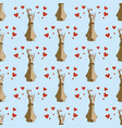 hares in love seamless pattern vector image