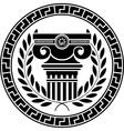 Hellenic column and laurel wreath vector image