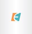 turquoise orange letter e logo icon element vector image