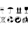 symbols for packing subjects vector image vector image