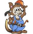 Hand-drawn of an Kangaroo Handyman vector image vector image
