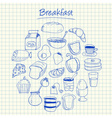 breakfast doodles squared paper vector image