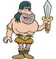 Cartoon barbarian holding a sword vector image