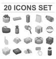 gift and packing monochrome icons in set vector image
