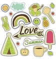 happy embroidery colorful summer patches vector image