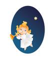 kid angel musician flying on a night sky makin vector image