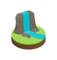 Mountain falls isometric 3d icon vector image
