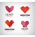 set of hearts logos charity vector image