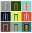 set of icons in flat design for airport metal vector image
