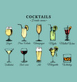 cocktails and alcoholic beverages glasses hand vector image
