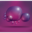 Transparent soap bubbles on purple background vector