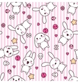 Rabbit Doodle Cartoon pattern vector image