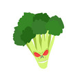 angry broccoli aggressive green vegetable vector image