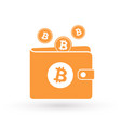 bitcoin orange wallet with logo and falling coins vector image