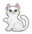 Cartoon white cat vector image
