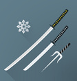 flat samurai weapon set icon vector image
