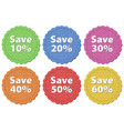 label templates with different amount of discounts vector image