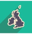 flat icon with long shadow map of Britain vector image