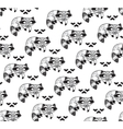 Black and white seamless pattern with raccoons vector image vector image