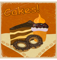 Vintage background image of a piece of cake vector image