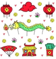 art of Chinese celebration doodles vector image