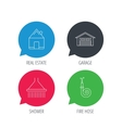 Real estate garage and shower icons vector image