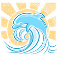 dolphin jumping in water waves vector image vector image