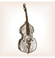 Contrabass hand drawn sketch style vector image